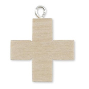Wooden cross nature, with ring above trailer for smooth chain without body 2.2 x 2.2 cm