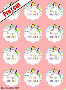 PRE-CUT HAPPY BIRTHDAY EDIBLE RICE / WAFER PAPER CUP CAKE TOPPERS PARTY BIRTHDAY DECORATION