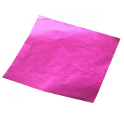 TOOGOO(R) 100pcs Square Sweets Candy Chocolate Lolly Paper Aluminium Foil Wrappers Pink