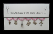 Travel Set of 6 Wine Glass Charms Handmade Pale Pink