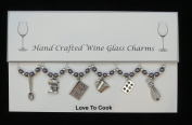 Love To Cook Set of 6 Wine Glass Charms Handmade Grey Pearl