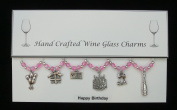 Happy Birthday Themed Wine Glass Charms Set of 6 Handmade Pale Pink