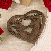 Cast Iron Heart Shaped Deer Trivet - Wonderful 6th Anniversary Gift Idea - 15 x 17cm