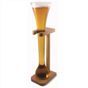 CKB Ltd® HALF YARD Tall Ale Glass With Smart Birch Wood Stand Holder - You Can Fill This Tall Sleek Glass To The Brim - Avoid The Fast Flowing Beer As You Near The End -Produced In . Borosilicate Glass- Capacity 800ml