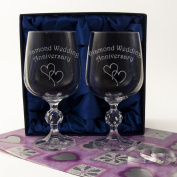 "Diamond 60th Wedding Anniversary, A Pair of Crystal Wine Goblets in Satin Lined Presentation Box. Engraved with ""Golden Wedding Anniversary"" and Two . Hearts. Quality Celebratory Gift Wrap and Ribbon included. Diamond Anniversary Gift, 60th Anniv .."
