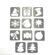 #16 REFILL STENCILS ONLY - 11 X CHRISTMAS GLITTER TATTOO STENCILS