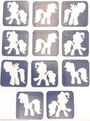 #14 REFILL STENCILS ONLY - 11 X MY LITTLE PONY GLITTER TATTOO STENCILS