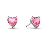 14kt Gold Lab Pink Sapphire 6mm Heart Stud Earrings