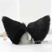 Hot Sweet Lovely Anime Lolita Cosplay Fancy Neko Cat Ears Hair Clip Black