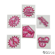 72 SUPERHERO Pink Ribbon TATTOOS - BREAST Cancer Awareness - Fundraiser GIVEAWAYS - Favours