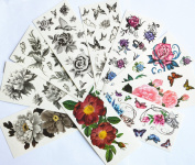 10pcs/package hot selling temporary tattoo stickers various designs including black peony/black flowers and butterflies/black roses/colourful flowers and butterflies/roses/peony/etc.