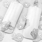 Lovely 24 Sheets 3D White Flower Manicure Nail Art Sticker Tips Decoration