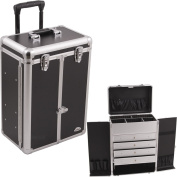 Sunrise Professional Rolling Makeup Case with Drawers and French Door Opening with Brush Holder and Pockets