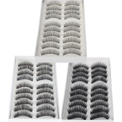 30 Pairs Black Long & Thick Reusable False Eyelashes Fake Eye Lash for Makeup Cosmetic - 3 Kinds of Style