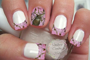 Pink Camo Deer French Tips and Full Nail Art Decals