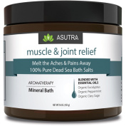 """""""MUSCLE & JOINT RELIEF"""" - Melt The Aches & Pains Away - 100% PURE DEAD SEA BATH SALTS / Rich In Vital Healing Minerals / Organic Essential Oils of Eucalyptus, Peppermint & Clary Sage - 470ml"""
