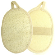 Kiloline Exfoliating Loofah Pads-2 Pack 100% Natural Organic Luffa and Terry Cloth Materials Loofa Sponge Scrubber Brush Close Skin For Men and Women When Bath Spa and Shower