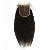 20cm - 50cm Brazilian Remy Bleached Knots 10cm x 10cm Natural Black 1b# Kinky Straight Virgin Hair Lace Closure