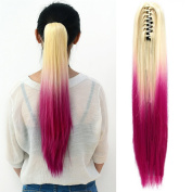 Neverland Beauty 50cm Straight Ombre Thick Hair Claw Clip Ponytail Pony Clip in Hair Extensions Claw Clip on in Hair Piece Blonde to Rose Red