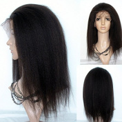 20cm - 60cm natural Looking Italian Yaki or Kinky Straight Lace Front Wig Best Brazilian Remy Human Hair Wigs for African Americans 130% Density