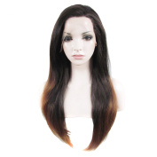 Lace Wig Long 60cm Straight Synthetic Lace Front Wig High Density Ombre Dark Auburn