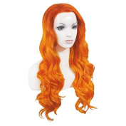 Lace Wig Long 60cm Wave Synthetic Lace Front Wig High Density Mixed Orange