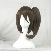Kantai Collection Kaga Brown Cosplay Costume Wig + 1 ponytails