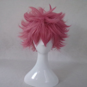 FAIRY TAIL Natsu Dragneel Pink Short Cosplay Costume Wig + Free Wig Cap