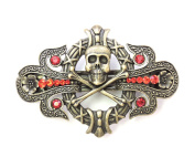 Faship Red Rhinestone Crystal Pirate Crossbones Barrette For Halloween