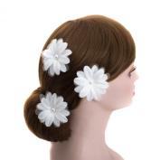 White Big Daisy Wedding Flower Silver U Pin Hair Accessory,bridal Bridesmaid Flower Hair Clips