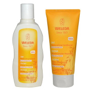 Weleda All Natural Organic Replenishing Oatmeal Shampoo and Conditioner Bundle For Dry or Damaged Hair With Jojoba and Sage Leaves For Men or Women, 190ml each