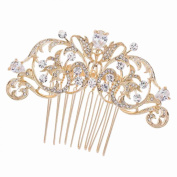 Gold CZ Rhinestone Hair Comb Pins Bridal Wedding Hair Accessories Jewellery 2253RGCL