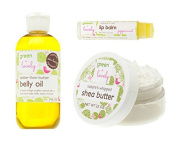 Mommy to Be Green Gift Set {Organic} Belly Oil Pregnancy Oil, Shea & Mango Butter, Lip Balm Green + Lovely