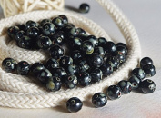 80 pcs Czech Round Glass Picasso Beads 6mm Opaque Black Picasso Beads