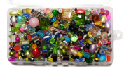 Coloured Glass Beads for Jewellery Craft 0.5kg Mixed Lampwork Round Cube Bulk in Storage Container