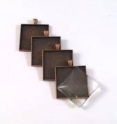 24 Deannassupplyshop 35mm inch square Pendant Trays with glass - Antique Copper - 35mm - Pendant Blanks Cameo Bezel Settings Photo Jewellery - Custom Jewellery Making