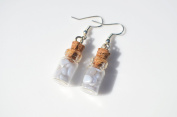 Blue Lace Agate Stones in Delicate Glass Vial Earrings