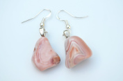 Pink Botswana Agate Sterling Silver French Hook Earrings