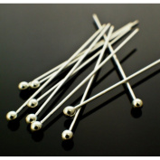 "200 Silver Plated Solid Brass Headpins Head Ball Pins- Jewellery Making Findings- 50mm or 2"" inches, 24 gauge"