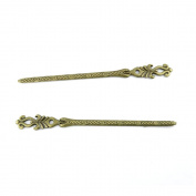 1pcs Jewellery Making Charms Jewellery Charme Antique Bronze Brass Tone Findings Lots Bulk Supply Supplies Repair Vintage Retro JP063 Hairpin Head Pins