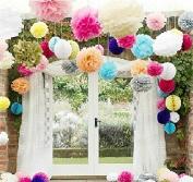 LifeGlow Crafts™ Pom Poms -12Pcs of 25cm 30cm 36cm 3 Colours Tissue Paper Flowers Pom Poms Wedding Decor Party Decor Pom Pom Flowers Pom Poms Craft Pom Poms Decoration