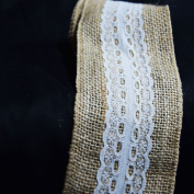Quasimoon Burlap and Lace Style No.6 Fabric Wrap Roll (0.7m x 1.8m) by PaperLanternStore