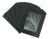 Golden State Art High Quality Acid-free Pre-cut 8x10 Picture Mat Sets. Includes Pack of 100 Crescent White Core Bevel Cut Mats for 5x7 Photos, 100 Backing Boards and 100 Crystal Clear Plastic Sleeves Bags. BW221