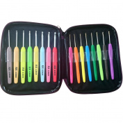 Crochet Hook Set High Quality 16pc Aluminium Hooks with Colourful Plastic Handles Knitting Needles Weave Yarn Case Set Best Gifts for Her
