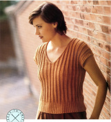 Easy Knit V-Neck Ribbed T-Shirt Pullover - Reynolds Saucy Knitting Pattern #591