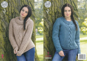 King Cole Ladies Super Chunky Knitting Pattern Round & Polo Neck Cable Knit Sweaters
