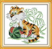 AngelGift Needlecrafts Stamped Counted Cross Stitch Set, Animal - Tiger and Watermelon