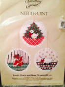Lamb duck and bear Christmas needlepoint ornaments 10cm each