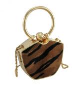 Furry Tiger Print Gold Trim Clutch Purse w/Removable Chain Strap