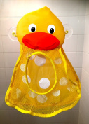 Momma Duck Bath Tub Toy Organiser Bag & Shower Caddy Keeps Tub Toys Mould Free Clean Fun Child Care Gift for all Tubs Showers & Bathrooms Durable Mesh Storage Net for Baby Boys and Girls Toys